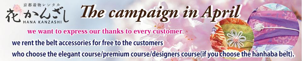 京都着物レンタル花かんざし 4月のキャンペーン! 帯飾り