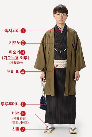 속저고리 기모노 하오리(기모노용 외투)(겨울철만)오비 띠 두루주머니 버선(신품 증정/프리 사이즈) 신발