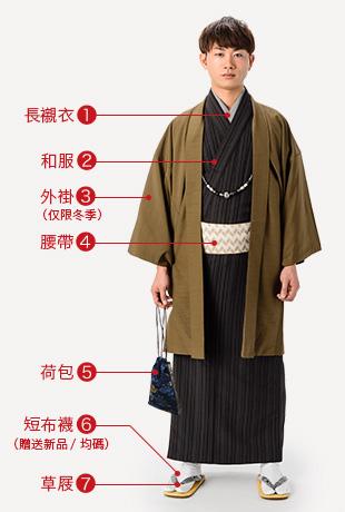 長襯衣(僅有夏季為半長襯衣)和服 外褂(僅限冬季)腰帶 荷包 短布襪(贈送新品/均碼)草屐