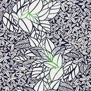 緑の葉をあしらった生地