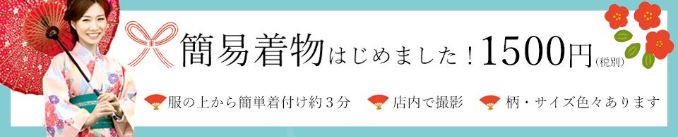 京都着物レンタル花かんざし簡易着物始めました1500円