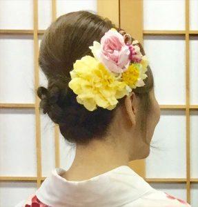 京都着物レンタル花かんざし 髪飾り付け放題 一例