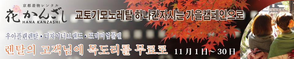 교토기모노레탈 하나칸자시는 가을캠페인으로