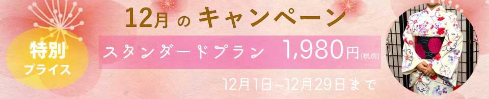 令和元年12月のキャンペーン♡といたしまして、スタンダードプランのお着物を予約された方には1,980円(税別)にてレンタルさせていただきます♪