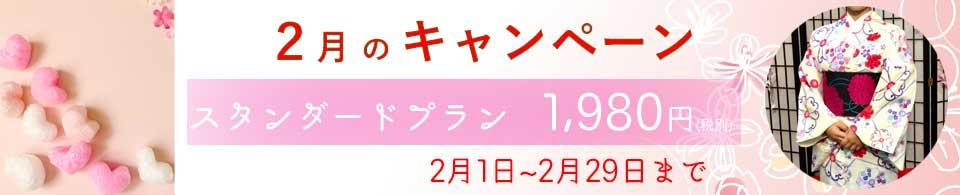 2020年♡2月のキャンペーン♡といたしまして、スタンダードプランのお着物を予約された方には1,980円(税別)にてレンタルさせていただきます♪